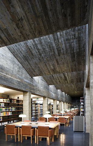 View of the main reading hall characterized by its concrete ceil